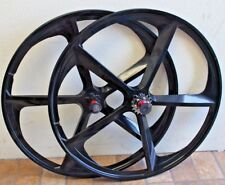 700c magnesium 5-Spoke Mag Rims Single Speed Bicycle Wheel Set, Black