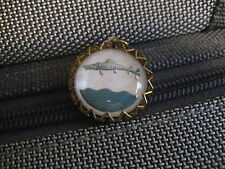 TROPICAL FISH  Baracuda   reverse carved & painted vintage glass intaglio charm