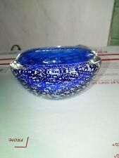 Murano Cobalt Blue Bubble glass ash tray
