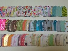 750 Scallop Paper Hang Gift Tags - Multiple Colors-Patterns - Handmade Cardstock