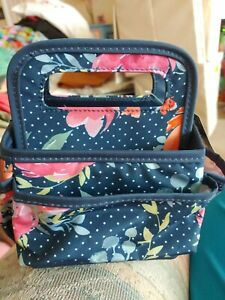 Hobby L8bby Crafter Portable Tiny Tote Floral on Navy NWT