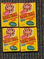 1990-91 Fleer Basketball Four-pack lot