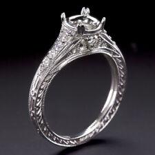 Setting 6.5mm 1ct Semi-Mount White Gold Art Deco Vintage Diamond Engagement Ring