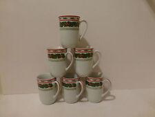 Vintage Lefton (6) Classic Christmas Holly 1053 Porcelain Mugs   (S2