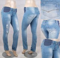 NWT Maternity skinny jeans elastic waist lt. wash & distressed fashion SG-14507