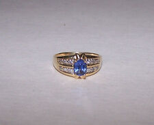 Vintage Authentic Tanzanite & Diamond Ring .72ct 14K Solid Yellow Gold S-7.25