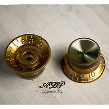 2 BOUTONS DORES inchSize GOLD GIBSON Style TopHat KNOBS VOL. Gold Reflector Cap