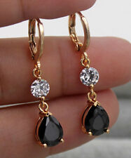 18K Gold Filled - 1.4'' Black Onyx Topaz Waterdrop Cocktail Gemstone Earrings