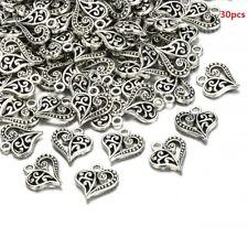 30pcs Antique Bronze Silver Alloy Hollow Heart Charms Pendants Findings Crafts C