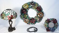 Stained Glass Set: Wreath, Photo Frame & Accent Lamp