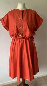 Retro Women's Red Dress Size M Short Sleeve Button Front Midi Vintage