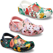 Crocs Classic Printed Floral Womens Clogs Lightweight Holiday Beach Sandals