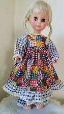 """Vtg 15"""" Uneeda Doll Co Inc Usa 1963 Original Clothing Blonde Hair Prairie Dress"""