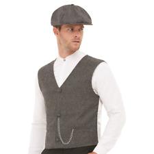 1920`S Gangster Fancy Dress Mafia Gatsby Costume 30`s Waistcoat Flat Cap