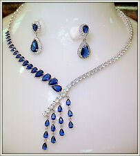 Glamour Blue Sapphire CZ Bridal Jewelry stunning Necklace Earring Set