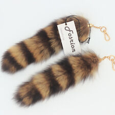 "2 pcs 10"" Raccoon Tail Fur Handbag Accessory Key Chains Rings Hook Ornament"