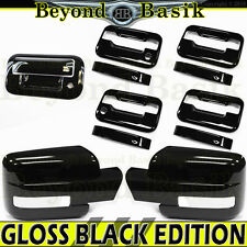 09-14 F150 Crew GLOSS BLACK Door Handle Covers wPK noKP+Mirrors wSignal+Tailgate