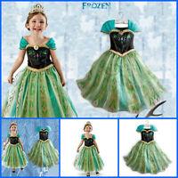UK Kids Green Anna-4  Elsa Party Frozen Disney Costume Girls Dress up Age 3 to 8