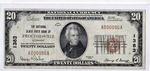 $20 1929 T1 National BLACK RIVER PROCTORSVILLE Vermont VT Mega Rare 3 on Census!