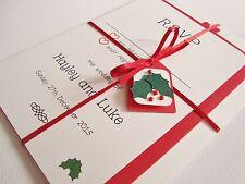 Handmade Personalised Christmas Mistletoe Ribbon Tied Wedding Invitation Sample