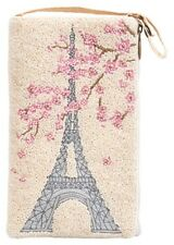 Club Bag - Paris Floral - Beaded with Embroidered Eiffel Tower Design