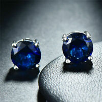 White Gold Plated 2ct Blue Sapphire Swarovski Crystal Cut Studs Earrings  Studs