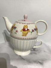 More details for disney store winnie the pooh and eeyore tea pot with cup set for one pink cream
