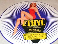 "VINTAGE ETHYL GAS PIN UP MODEL WOMAN 11 3/4"" PORCELAIN METAL GASOLINE & OIL SIGN"