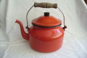 Large Vintage Red Enamel Kettle