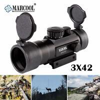 3x42RD Green Red Dot Sight Laser Rifle Scope Optics Flip Cover Rail Mount
