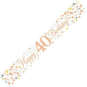 9ft White & Rose Gold Happy 40th Birthday Foil Banner Age 40 Party Decorations