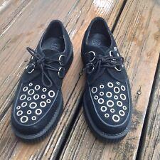 TUK Black Silver Creeper Suede Platform Oxfords Womens Sz 9 EU 40 A8646 Shoes