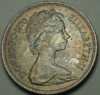 1970 Great Britain Ten New Pence BU BRIGHT UNIQUE COLOR TONED GEM UNC (SS)
