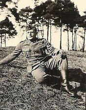 WWII German RP- Soldier Poses on Ground- Hat- Uniform- Gloves- Ribbons- 1940s