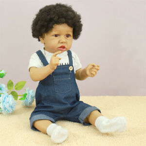 60CM Simulation Rebirth Doll Full Silicone Brown Eyes Black Hair Male Baby Gifts