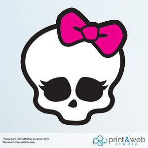 Monster High Wall Decal Sticker Bedroom Vinyl Kids Skull Bow