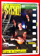TYPE O NEGATIVE cover and article PSYCHO! #0 year 1996 MANOWAR DIO MOTORHEAD