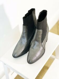 Schuh Grey Silver Effect Leather Block Heeled Chelsea Boots Size 39 (uk6)