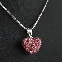 Fashion Snake Chain Charm Full Crystal Heart Pendant Necklace Jewelry Gift