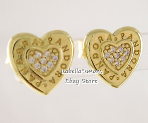 SIGNATURE HEART Genuine PANDORA Shine GOLD Plated LOGO Earring Studs 267382CZ