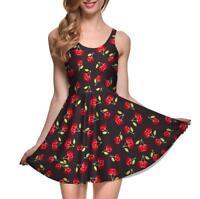 Women pleated Dresss Little Cherry Printed Sleeveless dress Mini Dress S-4XL