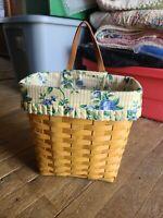 😍  Longaberger Tall Key Wall Basket w/ Protector & Fabric Liner 1999 NICE 💖