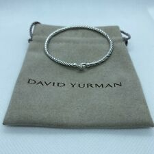 David Yurman Cable Collectibles Heart Bracelet With Diamond 3mm Bangle SS/925 M