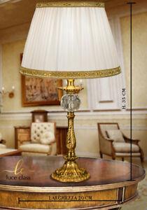 lampada da tavolo comodino classica in cristallo e ottone con paralume plissé: