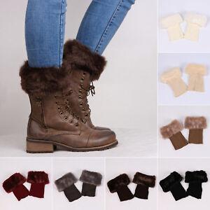 Womens Faux Fur Crochet Knitted Trim Leg Casual Cuffs Toppers Warmer Boot Socks