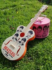 🔴 60s THE BEATLES PLASTIC TOY GUITAR by SELCOL PRODUCTS - RARE MEMORABILIA