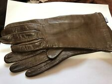 Womans Brown leather gloves Silk lined  Made in Italy  size 7 1/2