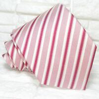 Necktie men Striped red & white tie New 100% silk  Made in Italy Morgana brand