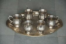 Old Brass Inlay Engraved Nickel Plated Handcrafted Tea Cup Set With Tray