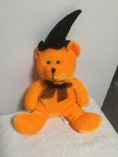 ORANGE BEAR IN BLACK WITCH HAT PLUSH HALLOWEEN STUFFED ANIMAL TEDDY 2009 RINCO